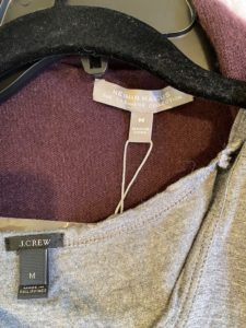 j crew grey tank top, Neiman Marcus purple sweater