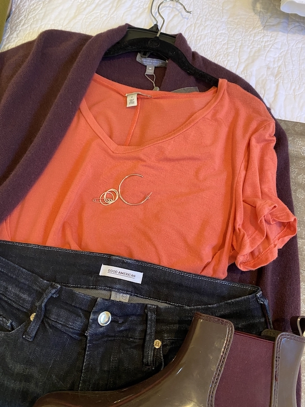 Halogen coral t-shirt, Good Amerian Dark Blue Jeans, Neiman Marcus purple sweater, gold hoops, gold rings