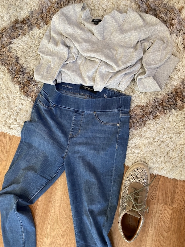 Liverpool medium blue jeggings, Halogen cream V neck sweater, tan multi color sneaker