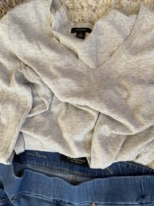 Halogen oatmeal cream vneck sweater