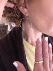 drop hoop earrings, mixed metal ring
