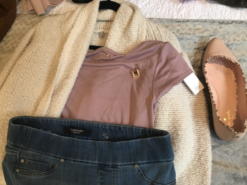Eileen Fisher blush tshirt, Liverpool dark blue jeans, Vince cream sweater, Kate spade blush ruffle flats, gold square drop earrings