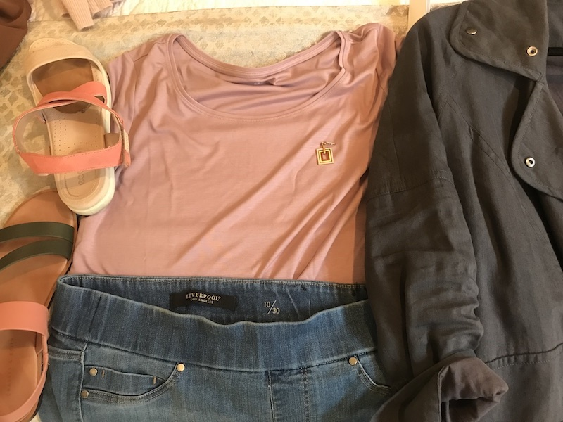Eileen Fisher pink t-shirt, Liverpool medium blue jeans, square gold earrings, Nordstrom dark gray jacket, Ecco pink and cream sandals, Charles and Keith black and pink sandals