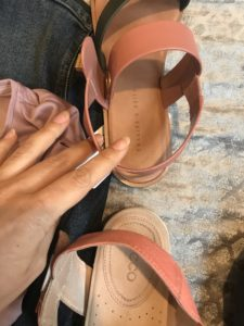 Charles & Keith pink and black sandals, Ecco pink and cream sandals
