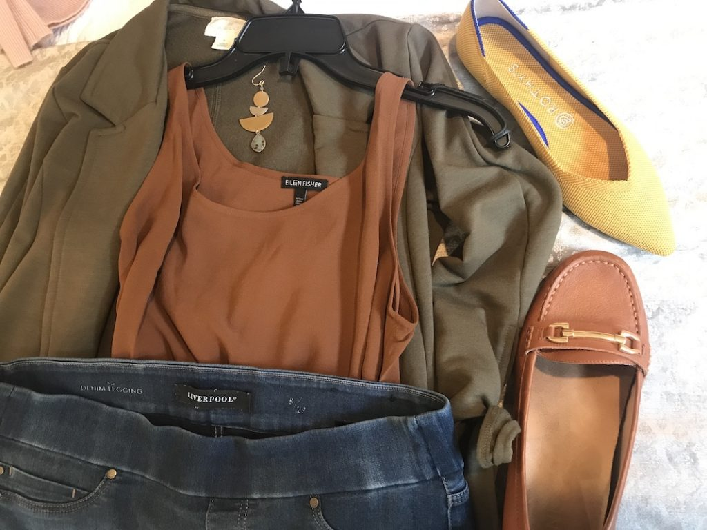 Eileen Fisher brown tank top, Liverpool dark blue jeggings, Caslon olive green jacket, Rothys mustard pointy flats, Vionic brown loafers, Mixed metalk drop earrings