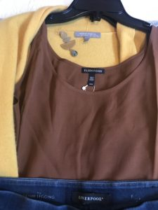 Eileen Fisher brown tank top, mixed metal drop earrings, Neiman Marcus yellow sweater, Liverpool dark blue jeggings