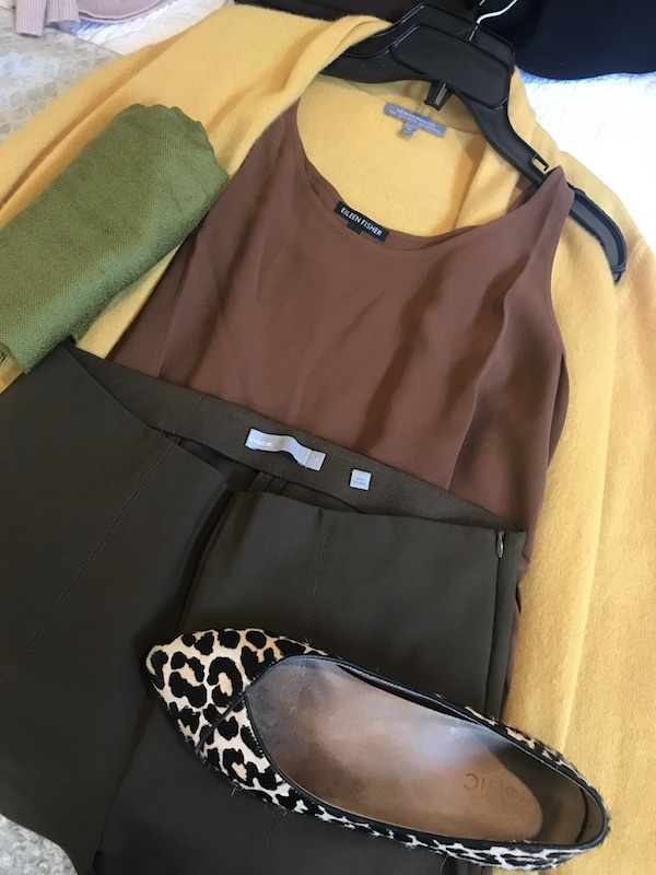 Eileen Fisher brown tank top, Vince olive green pants, Neiman Marcus yellow sweater, Vionic animal print flats, green scarf