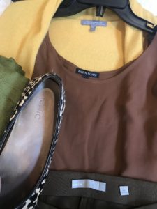 Eileen Fisher brown tank top, Neiman Marcus yellow tank sweater, Vionic cheetah print flats, Vince olive green pants