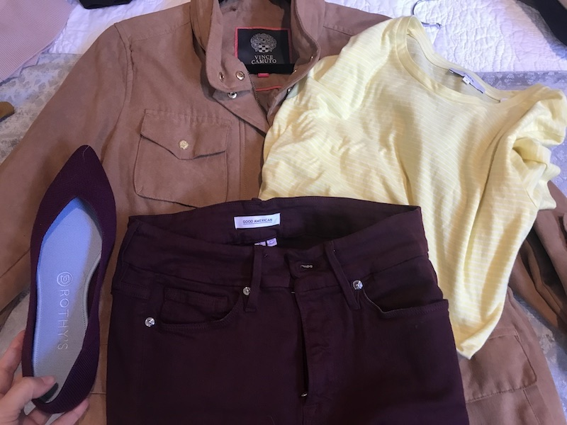 Vince yellow and white striped t shirt, Good American dark purple jeans, Rothy's dark purple flats, Vince Camuto tan jacket