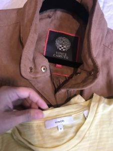 Vince yellow and white t-shirt, Vince Camuto brown jacket