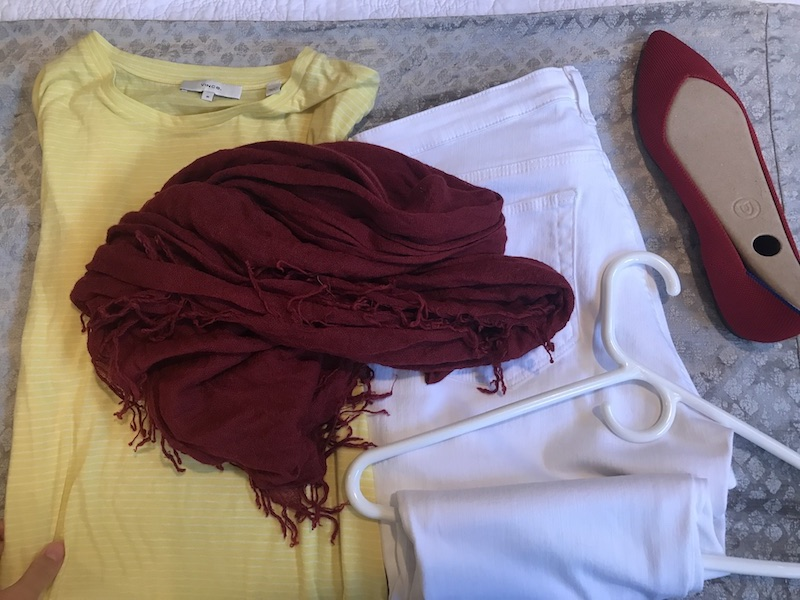 Vince yellow and white striped t shirt, AG white jeans, burgundy scarf, Rothy's Red flats