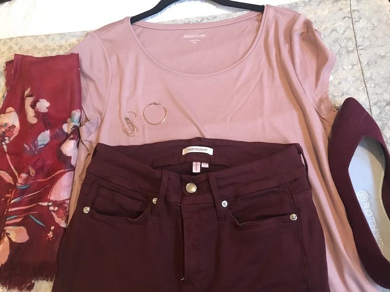 Eileen Fisher pink t shirt, Good American dark purple jeans, Rothy's dark purple flats, red floral scarf, rose gold hoops, rose gold rings