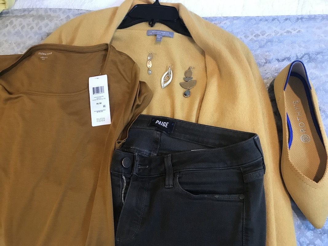 Eileen FIsher brown t shirt, Paige dark green jeans, Neiman Marcus yellow sweater, Rothy's yellow flats, mixed metal drop earrings