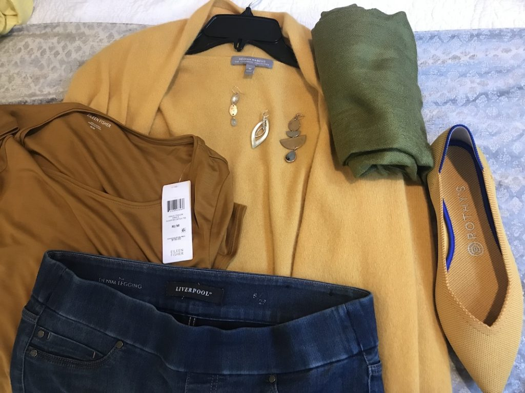 Eileen Fisher musard yellow t shirt, Liverpool dark blue jeggings, Neiman Marcus yellow sweater, green scarf, mixed metal drop earrings, Rothys yellow flats
