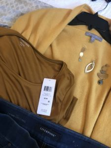 Eileen Fisher brown t-shirt, Eileen Fisher mustard yellow t shirt, Neiman Marcus yellow sweater