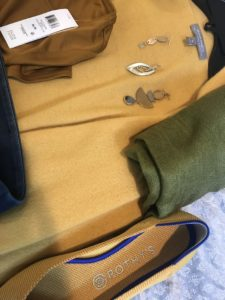 green scarf, mustard yellow Rothy's, Neiman Marcus yellow sweater