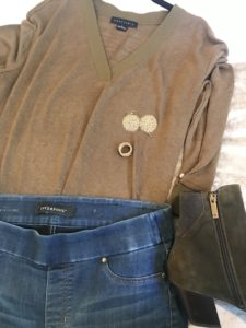 Sanctuary brown and olive v neck shirt, Liverpool medium blue leggings, Aquatalia olive green boots