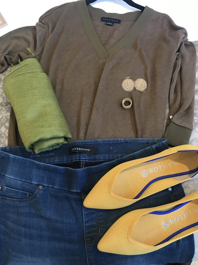 Sanctuary brown and olive v-neck shirt, Liverpool medium blue jeggings, yellow Rothys, green scarf, gold disc earrings, gold rings