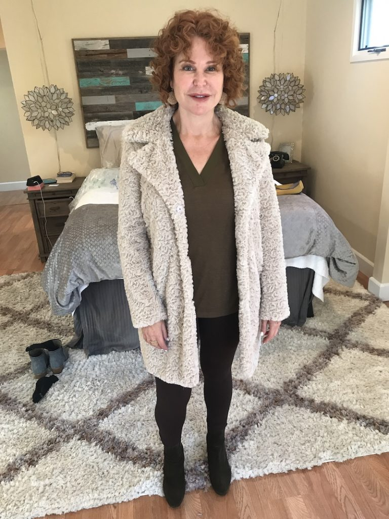 Sanctuary Brown and Olive Green V-neck shirt, Vince Camuto brown leggings, Kenneth Cole cream faux fur coat, Aquatalia olive green boots