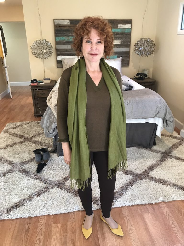 Sanctuary brown and green v-neck long sleeve shirt, Vince Camuto brown leggings, green scarf, yellow Rothys