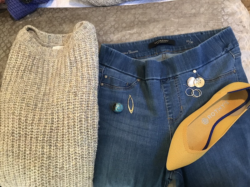 Caslon beige sweater, Liverpool medium blue jeggings, yellow Rothys, gold disc earrings, gold rings, gold drop earrings, turquoise statement ring