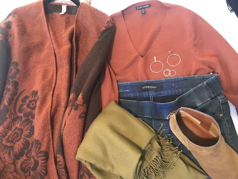 Eileen Fisher orange v-neck sweater, Liverpool medium blue jeggings, lucky brand tan boots, accessory street brown and rust floral cardigan, tan scarf