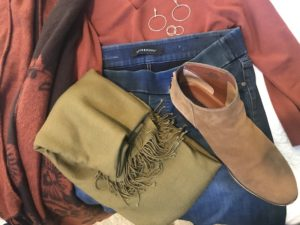 tan scarf, Lucky Brand boots