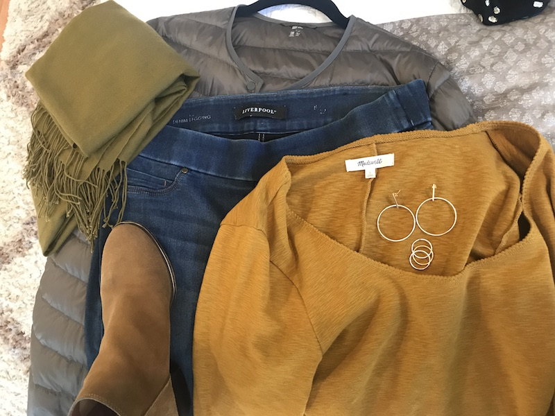 Madewell mustard yellow long sleeve shirt, Liverpool medium blue jeggings, Uniqlo grey puffer coat, olive green scarf, Lucky Brand tan boots, Gold hoop drop earrings, gold rings