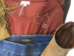 Lucky Brand tan boots, AG rust long sleeve shirt, Liverpool medium blue jeans