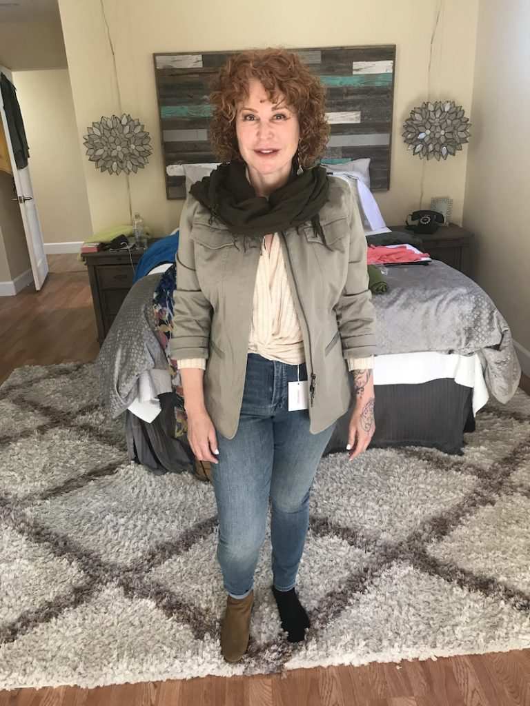 All In Favor Cream ribbed Textured Blouse, Good American medium blue jeans, Nordstrom sage green jacket, olive green scarf, Lucky Brand brown boots