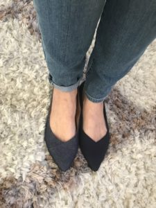 Rothy's black flats, Vionic navy blue denim flats