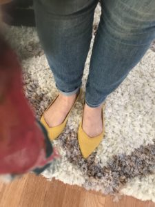 Rothy's yellow pointy toe flats
