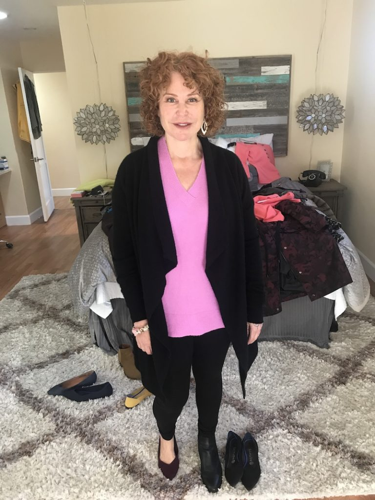 Halogen pink v neck sweater, Hue black leggings, Halogen black cashmere sweater, Rothys wine pointy toe flats, black boots, Rothy's black pointy toe flats
