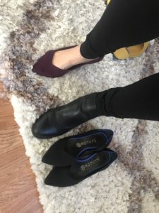 Dark purple Rothys, black Rothy's, black boots