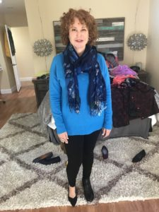 Halogen blue v-neck sweater, Hue black leggings, blue printed scarf, black Rothys, black boots