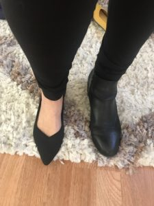 Rothy black pointy toe flats, black boots
