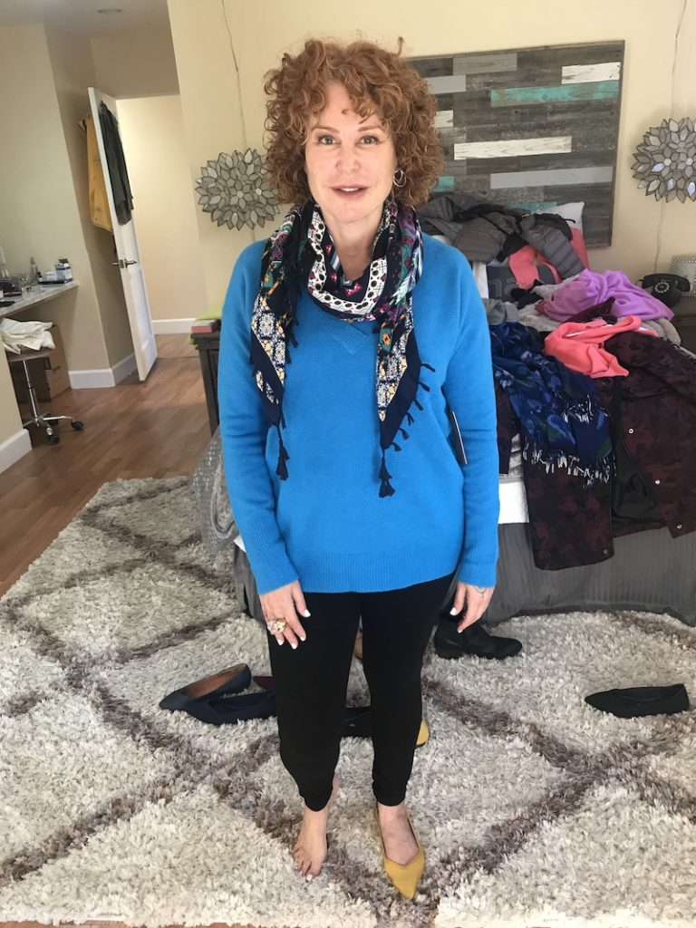 Halogen blue v neck sweater, Hue black leggings, multi color printed scarf, Rothy's yellow flats