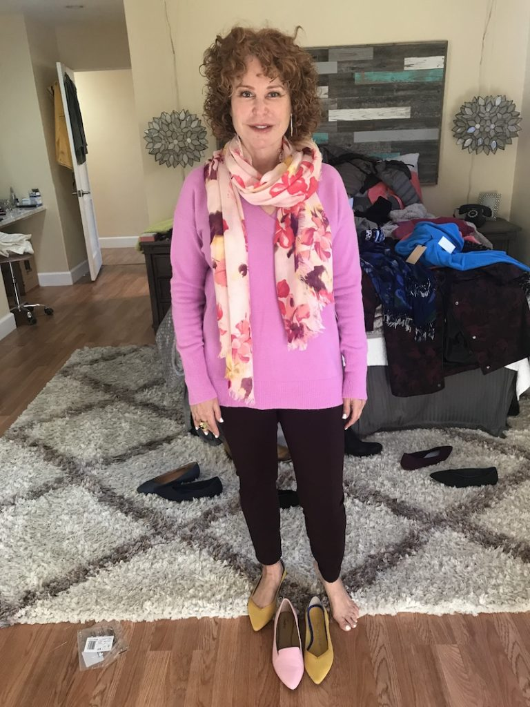 Halogen pink v neck sweater, Liverpool brown pants, pink floral scarf, Rothy's yellow flats, Trotters pink flats