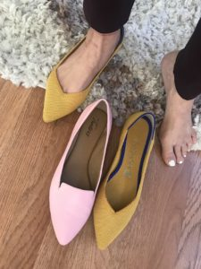 Rothy's yellow flats, Trotters pink flats