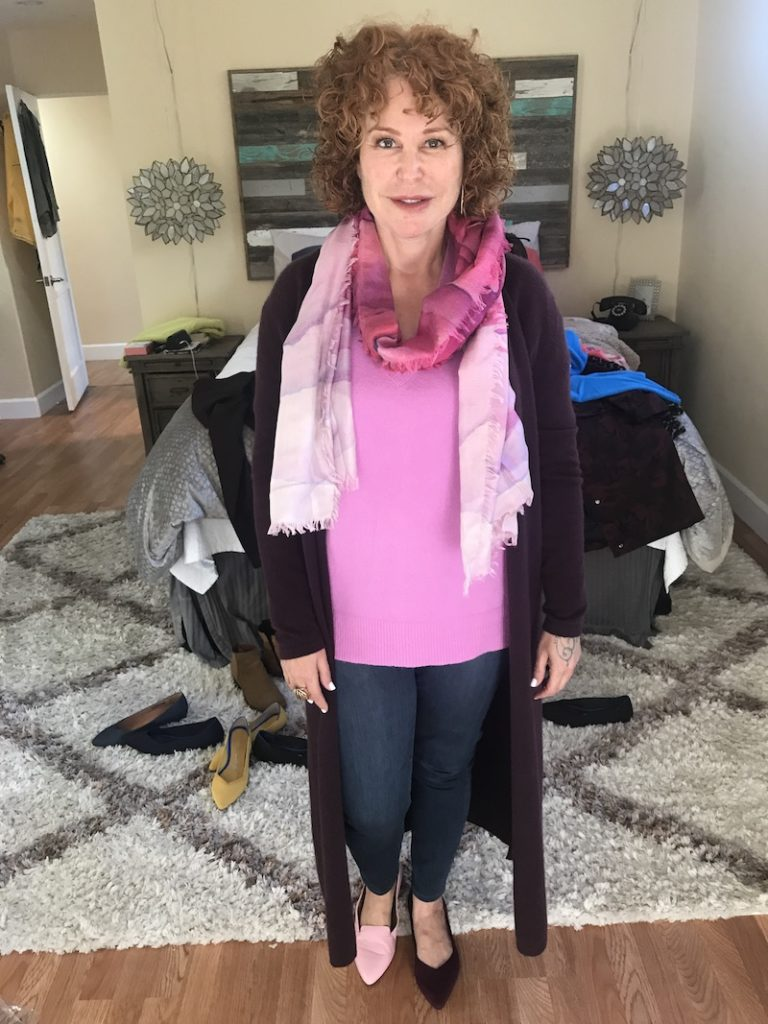 Halogen pink sweater, dark blue jeans, Neiman Marcus, wine long sleeve duster cardigan, Rothys wine colored flats, Trotters pink flats, pink scarf