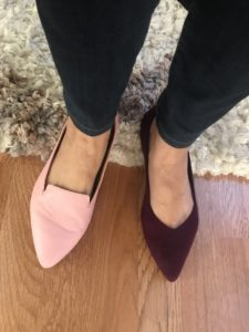 Trotters pink flats, Rothys dark red pointy toe flats