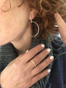 silver drop hoop earrings, mixed metal ring