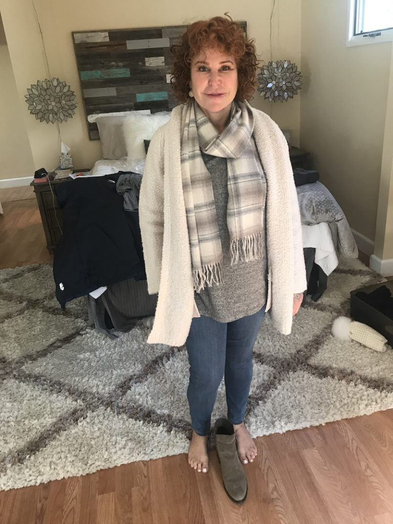 Bobeau heather grey sweater, Liverpool medium blue jeggings, Vince cream loose knit sweater, gray and white plaid scarf, taupe boots