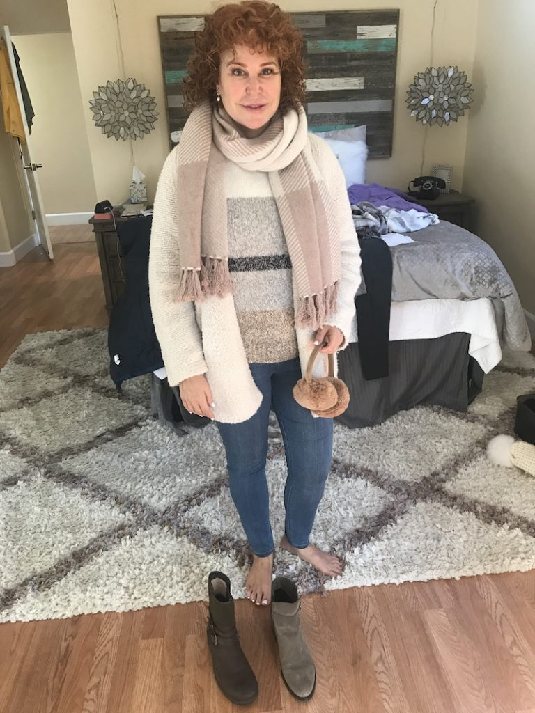 grey, cream and brown sweater, Vince cream cardigan sweater, beige plaid scarf, Liverpool medium blue jeggings, brown earmuffs, taupe boots, brown boots