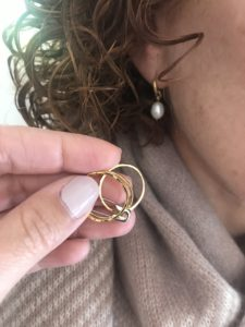 pearl earrings, gold rings